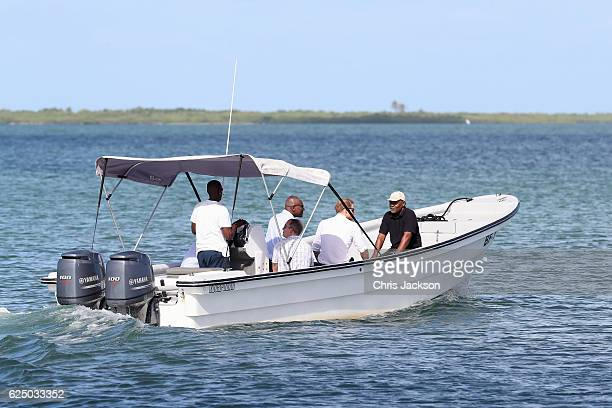 Prince Harry takes a tour of one of the largest colonies of Frigate birds in the world which nest in Barbuda's mangroves on the third day of an...