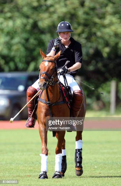 Prince Harry takes part in a charity polo match at the the Beaufort Polo Cub on June 22 2008 in Tetbury England