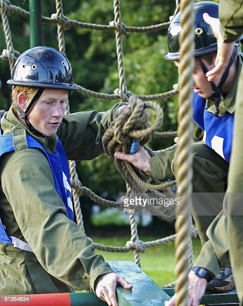 Prince Harry takes part in a command task exercise at the British Army's Regular Commissions Board held over four days at Westbury September 24 2004...