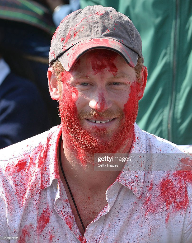 Prince Harry takes part in a holi celebration at Gauda Secondary School on day four of his visit to Nepal on March 22, 2016 in Leorani, Nepal. Prince Harry is on a five day visit to Nepal, his first official tour of the country.