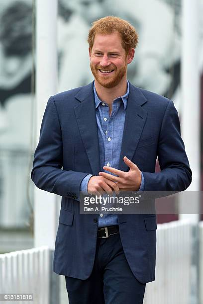Prince Harry takes part in a training session during a celebration for the expansion of Coach Core at Lord's Cricket Ground on October 7, 2016 in...