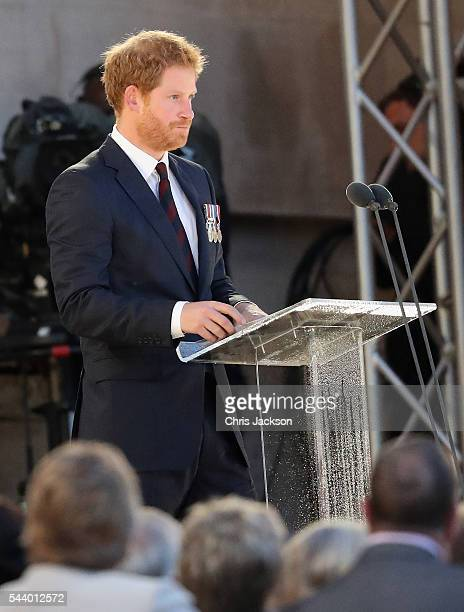 Prince Harry takes part in a vigil at Thiepval Memorial to the Missing of the Somme during Somme Centenary Commemorations on June 30, 2016 in...