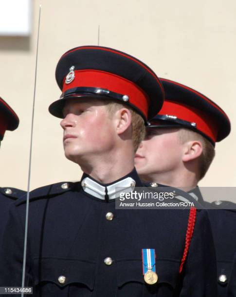 Prince Harry takes part in his passing-out Sovereign's Parade at Sandhurst Military Academy on April 12, 2006 in Sandhurst, England.