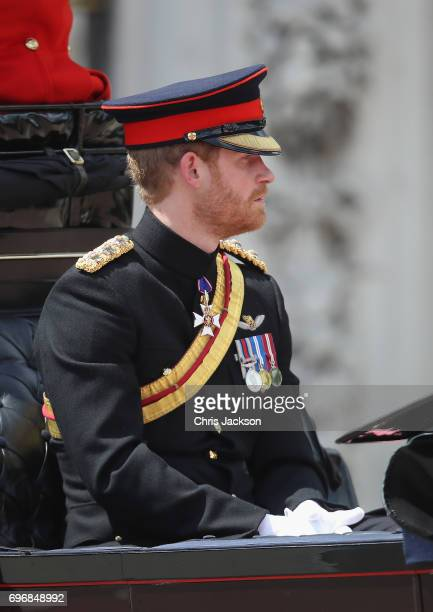 Prince Harry takes part in the annual Trooping The Colour parade on June 17 2017 in London England