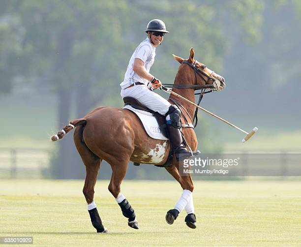 Prince Harry takes part in the Audi Polo Challenge at Coworth Park Polo Club on May 28 2016 in Ascot England