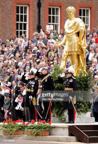 Prince Harry takes the salute as he reviews the annual Chelsea Pensioners Founders Day Parade at Royal Hospital Chelsea on June 9 2011 in London...