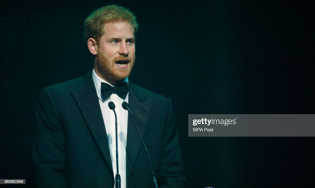 Prince Harry talks after receiving a posthumous Attitude Legacy Award on behalf of his mother Diana, Princess of Wales, at the Attitude Awards on October 12, 2017 in London, England. Attitude Magazine is awarding the prize to the late Princess Diana in honour of her significant work in drawing attention to HIV
