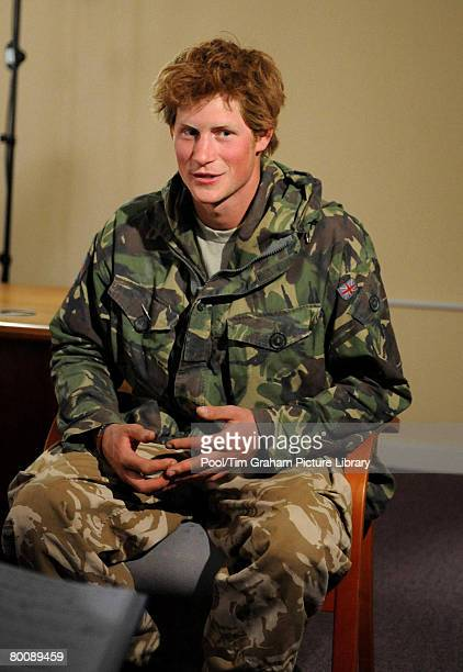 Prince Harry talks of his recent tour of duty in Afghanistan during a TV interview after arriving back at RAF Brize Norton on March 2 2008