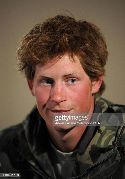Prince Harry talks of his tour of duty in Afghanistan during a TV interview after arriving back at RAF Brize Norton on March 1 2008 in Brize Norton...