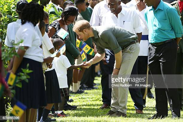 Prince Harry talks to children during a visit to the Botanic Gardens in Kingstown, Saint Vincent and the Grenadines, during the second leg of his...