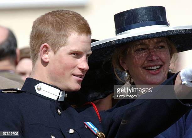 Prince Harry talks to his former nanny Tiggy LeggeBourke at his passingout Sovereign's Parade at Sandhurst Military Academy on April 12 2006 in...
