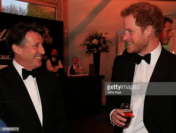 Prince Harry talks to Lord Sebastian Coe during the BT Sport Industry Awards 2016 at Battersea Evolution on April 28 2016 in London England The BT...