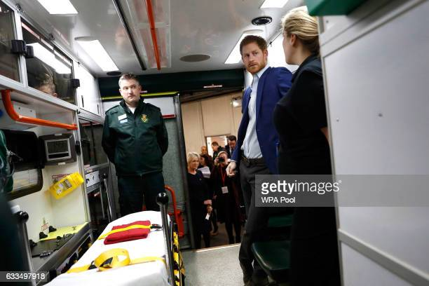 Prince Harry talks to medical staff as part of the Heads Together campaign at the London Ambulance Service in support of 'Time to Talk' day on...
