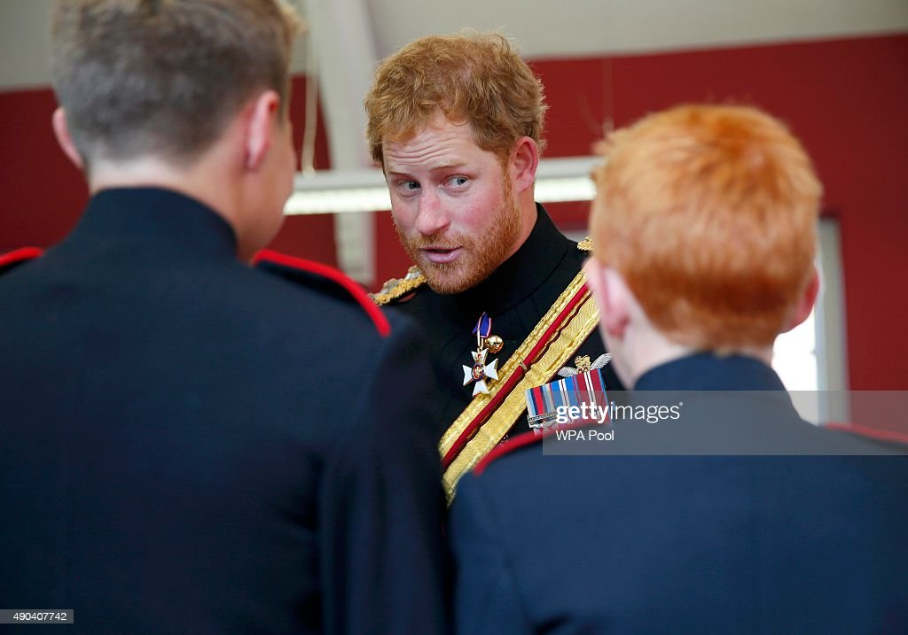 Prince Harry Visits The Duke Of York's Royal Military School : News Photo