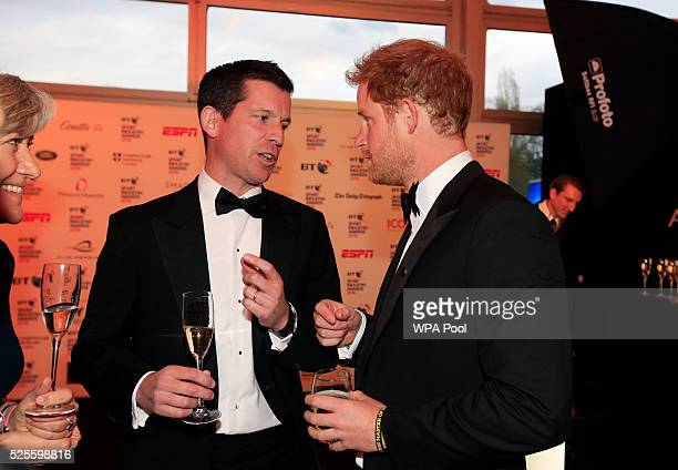Prince Harry talks to Tim Henman during the BT Sport Industry Awards 2016 at Battersea Evolution on April 28 2016 in London England The BT Sport...