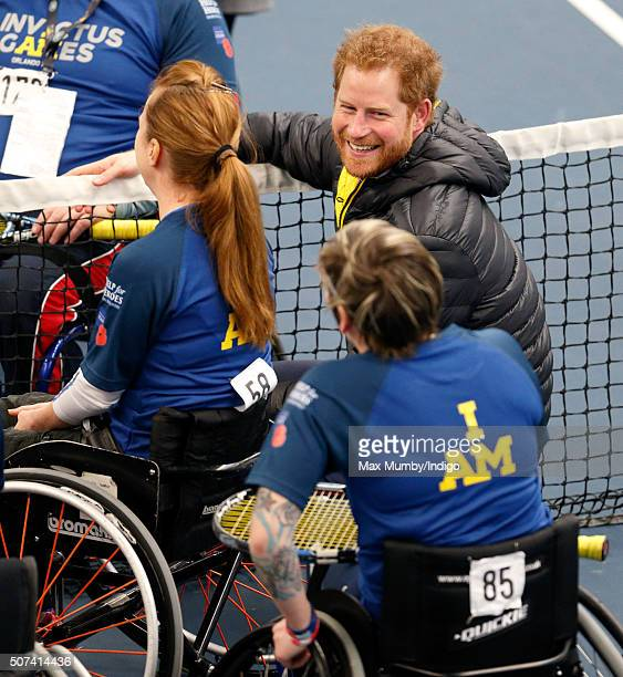 Prince Harry talks with competitors as he attends the UK team trials for the Invictus Games Orlando 2016 at the University of Bath on January 29 2016...