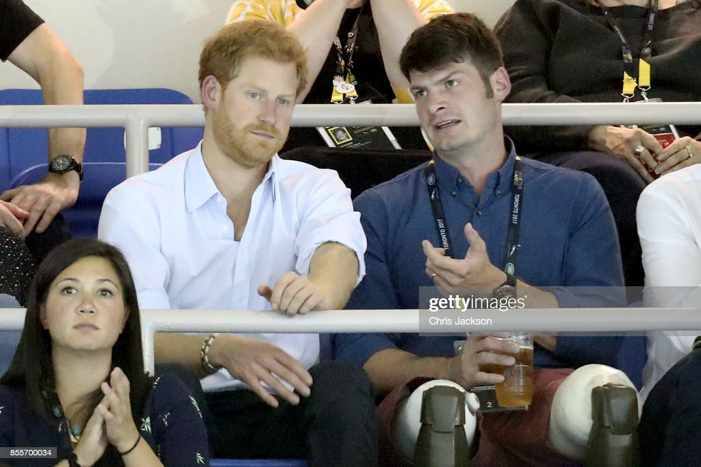 Prince Harry talks with Dave Henson at the Swimming Finals during Day Seven of the Invictus Games 2017 at Toronto Pan Am Sports Centre on September 29, 2017 in Toronto, Canada