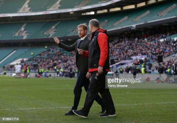 Prince Harry talks with England coach Richard Hill during an England Training Session at Twickenham Stadium on February 16 2018 in London England