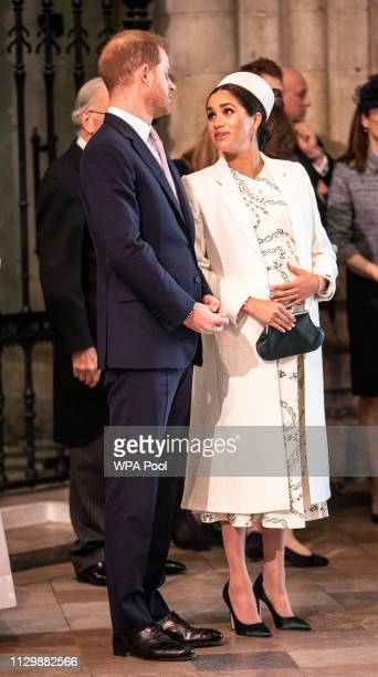 Prince Harry The Duke of Sussex and Meghan Duchess of Sussex arrive at the Westminster Abbey Commonwealth day service on March 11 2019 in London...