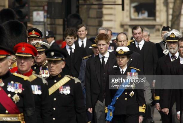 Prince Harry The Princess Royal The Duke of Edinburgh and other members of the Royal Family follow the coffin at the Queen Mother's funeral on April...