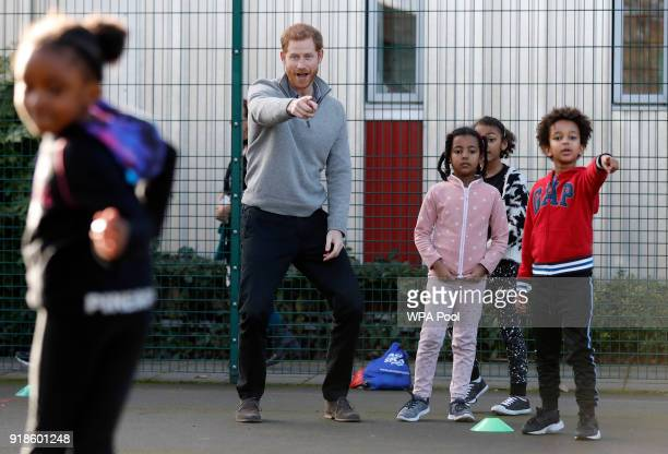 Prince Harry visits a Fit and Fed February school holiday activity programme at the Roundwood Youth Centre on February 15 2017 in London England The...