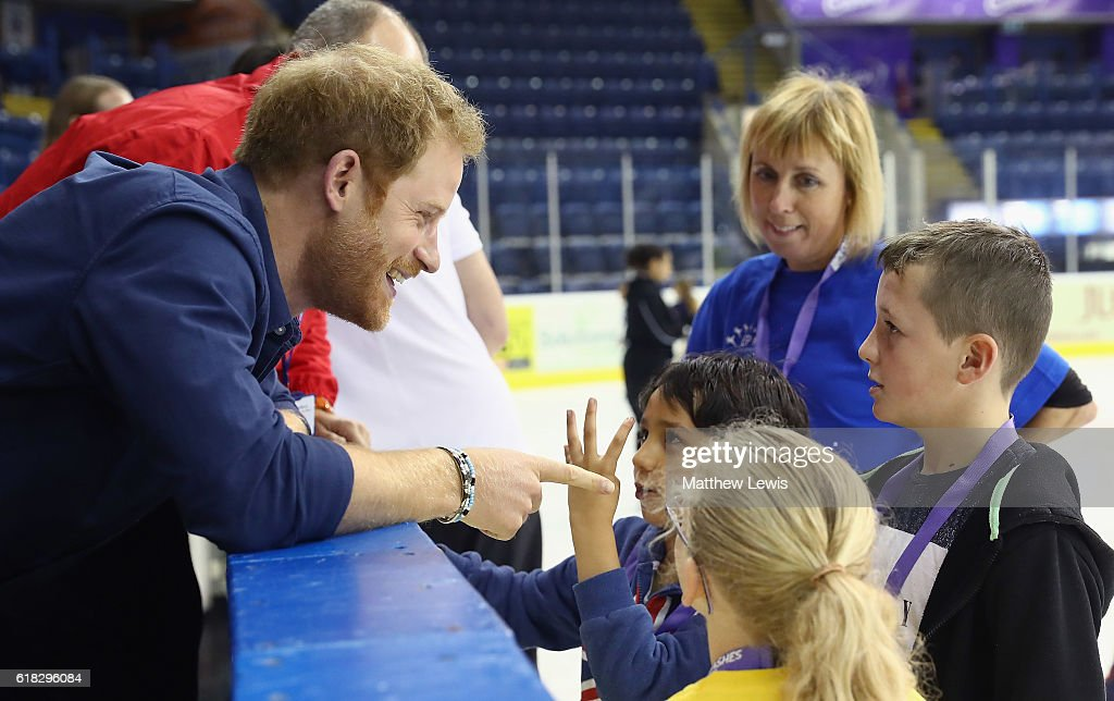 Prince Harry visits Coach Core at The National Ice Centre on October 26, 2016 in Nottingham, England. The Coach Core apprenticeship scheme was designed by The Royal Foundation of The Duke and Duchess of Cambridge and Prince Harry to take young people aged 16 - 24 with limited opportunities and train them to be sports coaches and positive role models and mentors in their communities.