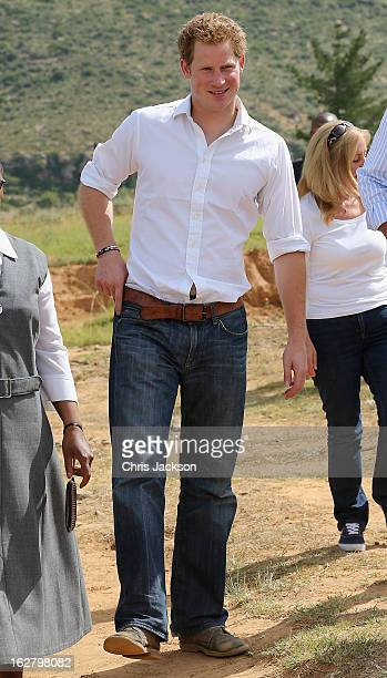 Prince Harry visits Kananelo Centre for the deaf, a project supported by his charity Sentebale on February 27, 2013 in Maseru, Lesotho. Sentebale is...