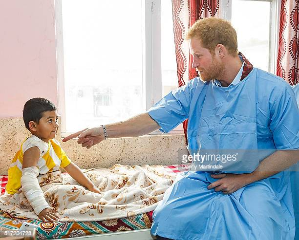 Prince Harry visits Kanti Children's Hospital where he meet young people being treated with burns on March 23 2016 in Pokhara Nepal