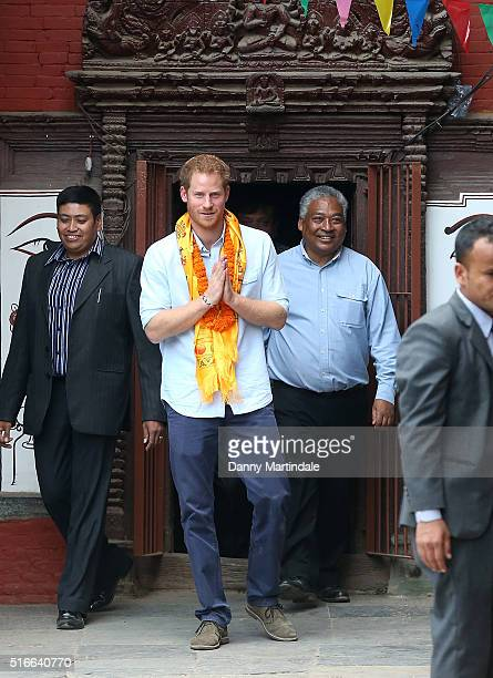 Prince Harry visits the Community courtyard behind the Golden Temple Kathmandu to meet representatives of the local community linked to the temple on...