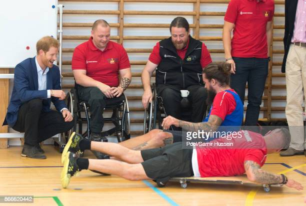 Prince Harry visits the Danish Veteran Centre where they watched a Rolling Floorball match a sport invented by Danish veterans on October 26 2017 in...