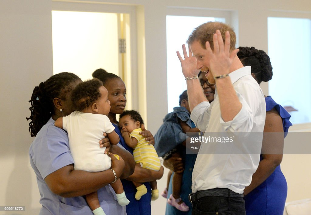 Prince Harry visits the Nightingale Children's Home where he meets different organisations offering support and care to children in need on November 29, 2016 on the Caribbean island of Barbados.