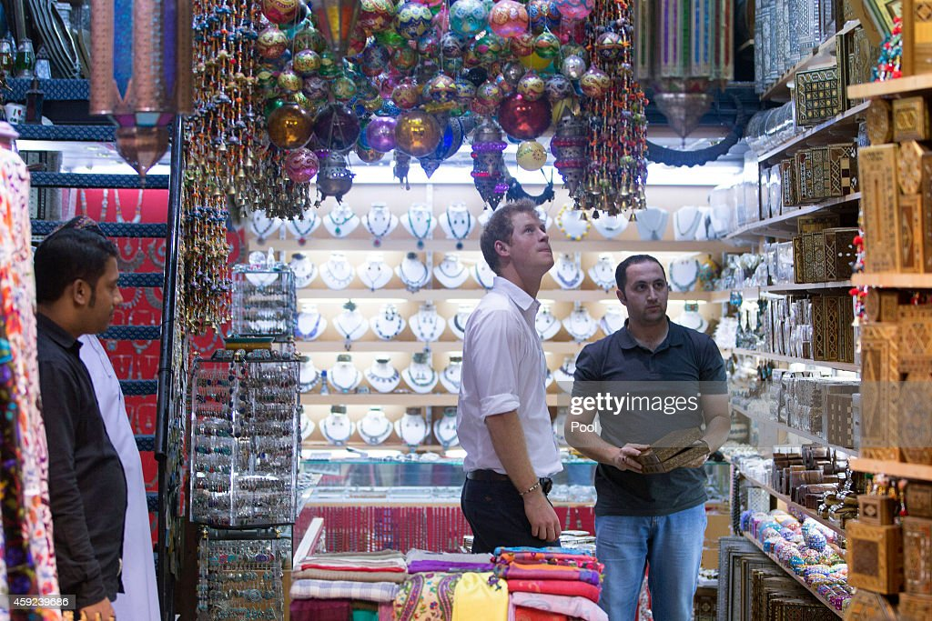 Prince Harry visits the Old Muttrah Souk on November 19