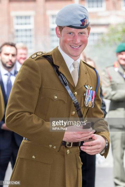 Prince Harry visits The Royal Marines Tamar on August 2 2013 in Devonport England Prince Harry visited the base in Plymouth to open the new...