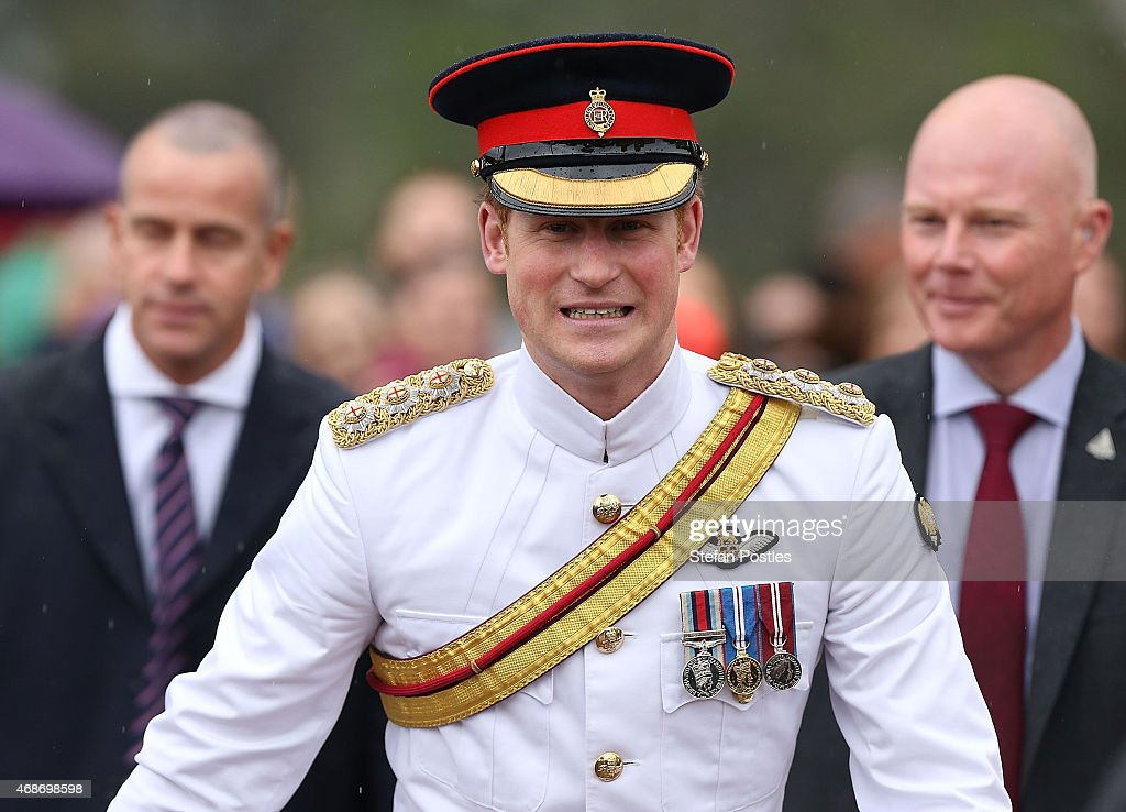 Prince Harry visits with members of the public outside the Australian War Memorial on April 6, 2015 in Canberra, Australia. Prince Harry, or Captain Wales as he is known in the British Army, will end his military career with a month long secondment to the Australian Defence Force in barracks in Sydney, Perth and Darwin.