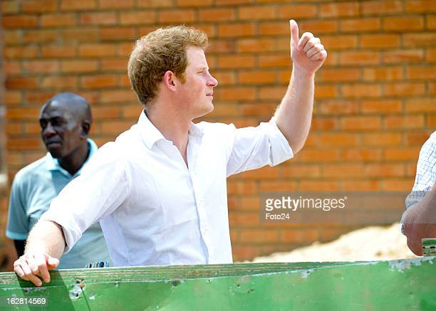 Prince Harry visitsSt Bernadette's school for the blind one of the centres supported by his charity organisation Sentebale on February 27 2013 in...