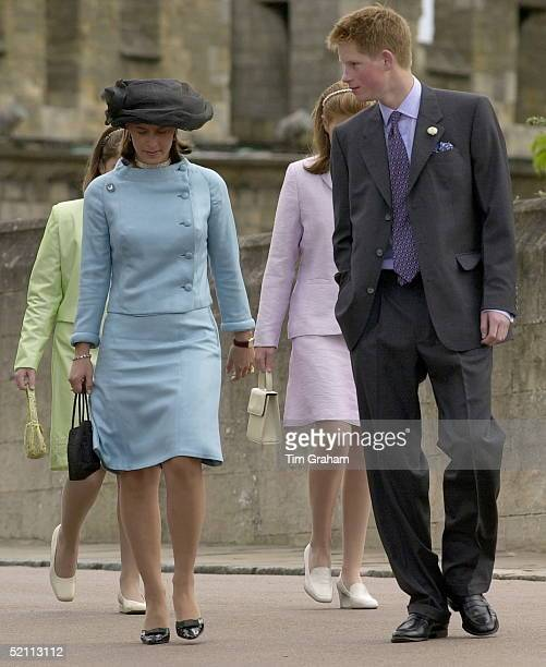 Prince Harry Walking With One Of Prince Philip's German Relatives Princess Xenia Of Hohenloelangenburg At A Service At St George's Chapel Windsor...