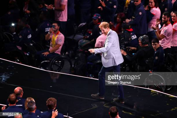 Prince Harry walks on stage during the closing ceremony of the Invictus Games 2017 at Air Canada Centre on September 30 2017 in Toronto Canada