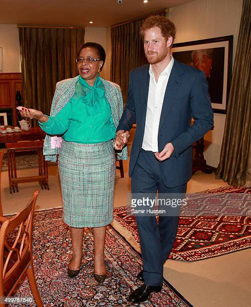 Prince Harry walks with Graca Machel widow of Nelson Mandela at the Nelson Mandela Foundation Centre of Memory during an official visit to Africa on...