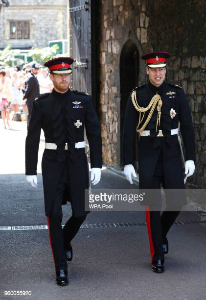 Prince Harry walks with his best man Prince William Duke of Cambridge as he arrives at St George's Chapel at Windsor Castle for his wedding to Meghan...