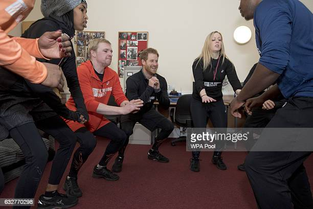 Prince Harry warmsup with staff and users of The Running Charity which is the UK's first runningorientated programme for homeless and vulnerable...