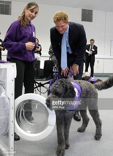 Prince Harry watches a dog using a washing machine during a visit to the charity Canine Partners Training Centre on July 13 2010 in Midhurst United...