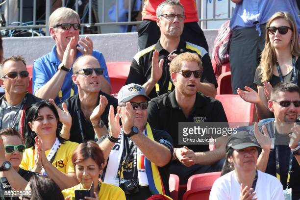 Prince Harry watches the Athletics during Day 2 of the Invictus Games 2017 at York Lions Stadium on September 24 2017 in Toronto Canada