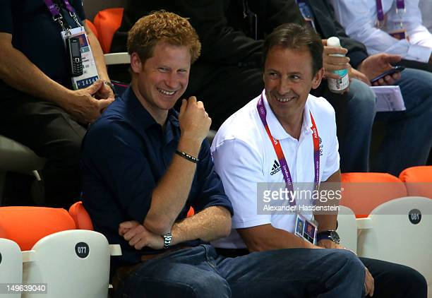 Prince Harry watches the evening session on Day 5 of the London 2012 Olympic Games at the Aquatics Centre on August 1 2012 in London England