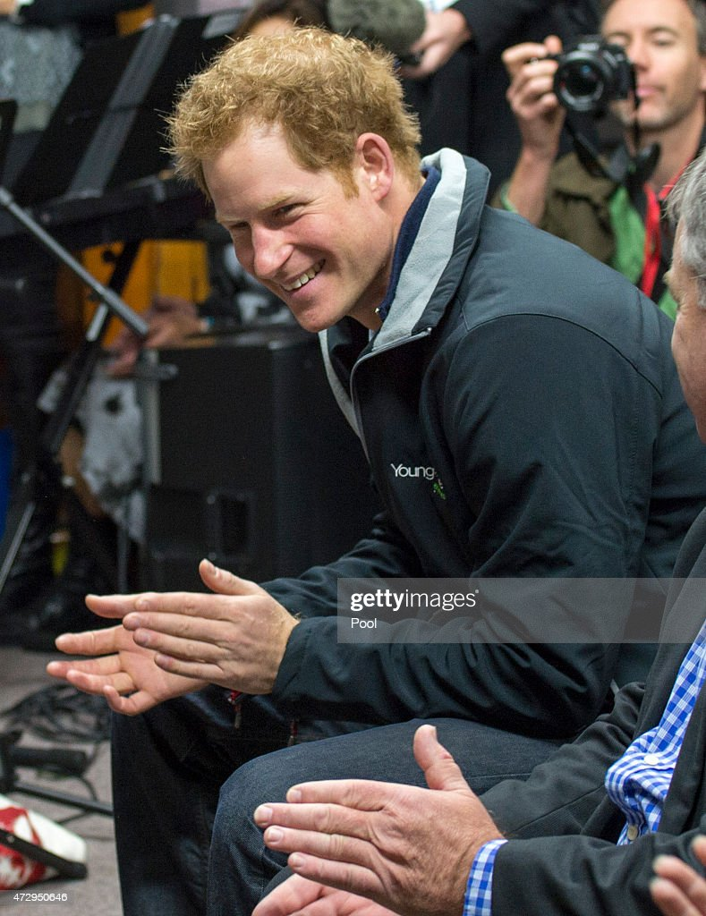 Prince Harry watches the school band and choir at Halfmoon Bay School in Oban as he leaves on May 11, 2015 in Stewart Island, New Zealand. Prince Harry is in New Zealand from May 9 through to May 16 attending events in Wellington, Invercargill, Stewart Island, Christchurch, Linton, Whanganui and Auckland.