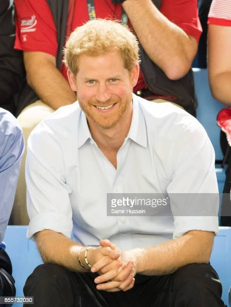 Prince Harry watches the wheelchair basketball on day 7 of the Invictus Games Toronto 2017 on September 29 2017 in Toronto Canada The Games use the...