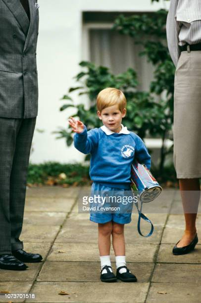 Prince Harry waves at the press on his first day at nursery school, Notting Hill, London, UK, 16th September 1987.