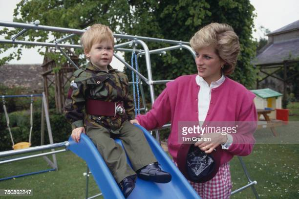 Prince Harry wearing the uniform of the Parachute Regiment of the British Army in the garden of Highgrove House in Gloucestershire 18th July 1986...
