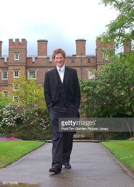 Prince Harry Who Finishes His Studies At Eton College Later This Month Wears School Dress Which Consists Of Black Tailcoat And Waistcoat And...