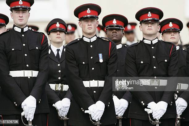 Prince Harry with fellow soldiers in the Sovereign's Parade at Sandhurst Military Academy passingout as commissioned officer Second Lieutenant Harry...