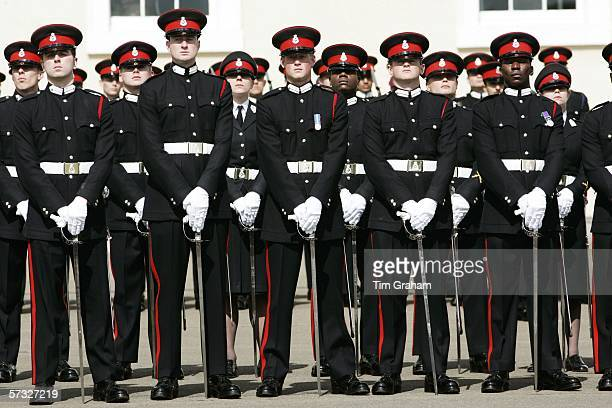 Prince Harry with fellow soldiers in the Sovereign's Parade at Sandhurst Military Academy, passing-out as commissioned officer Second Lieutenant...